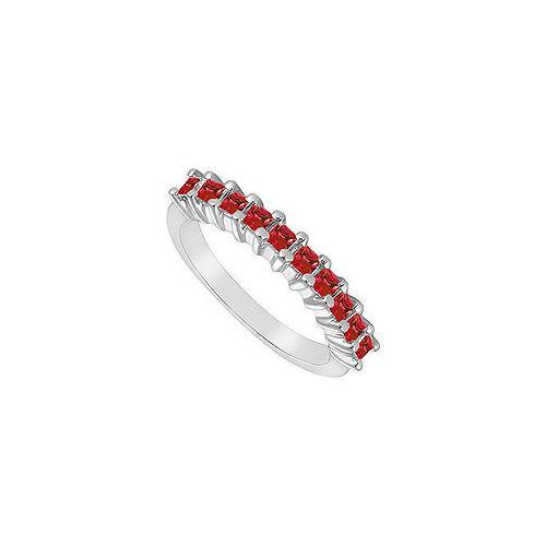 Ruby Ring : 14K White Gold - 0.50 CT TGW-JewelryKorner-com
