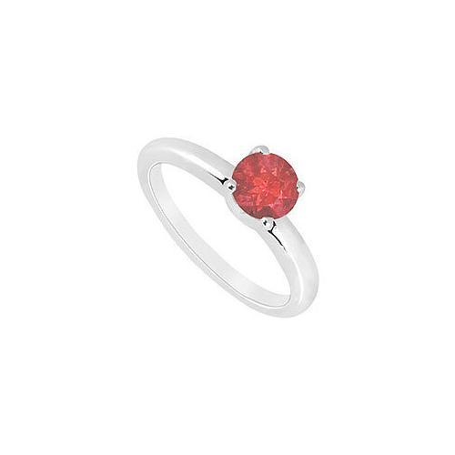 Ruby Ring : 14K White Gold - 1.00 CT TGW-JewelryKorner-com