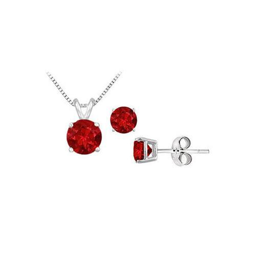 Ruby Solitaire Pendant with Earrings Set in Sterling Silver 2.00 CT TGW-JewelryKorner-com