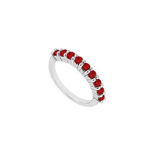 Ruby Wedding Band : 14K White Gold - 1.00 CT TGW-JewelryKorner-com