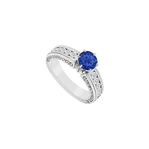 Sapphire and Diamond Engagement Ring : 14K White Gold - 1.75 CT TGW-JewelryKorner-com