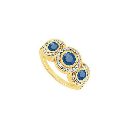 Sapphire and Diamond Engagement Ring : 14K Yellow Gold - 0.66 CT TGW-JewelryKorner-com