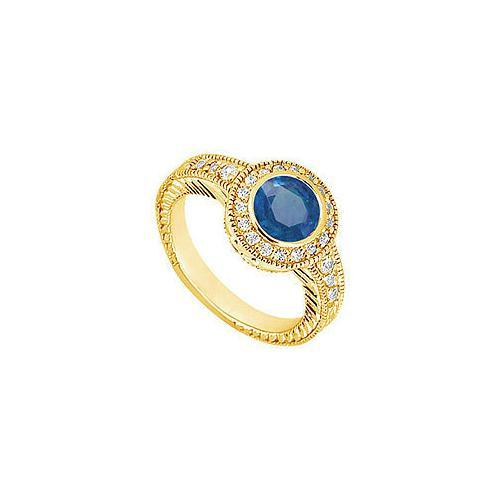 Sapphire and Diamond Engagement Ring : 14K Yellow Gold - 0.75 CT TGW-JewelryKorner-com