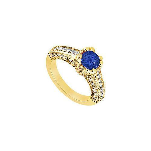 Sapphire and Diamond Engagement Ring : 14K Yellow Gold - 1.00 CT TGW-JewelryKorner-com