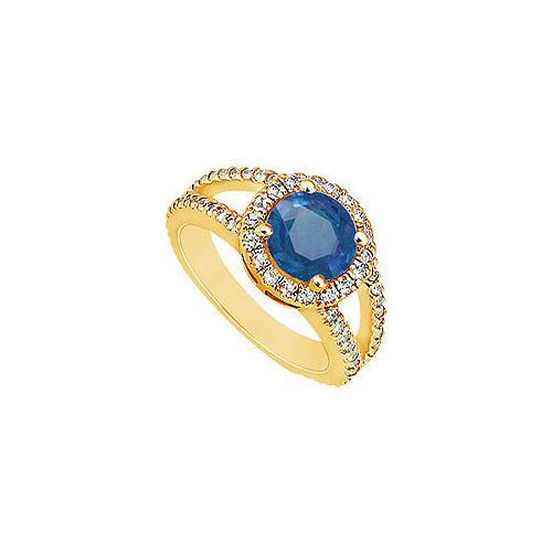 Sapphire and Diamond Engagement Ring : 14K Yellow Gold - 1.25 CT TGW-JewelryKorner-com