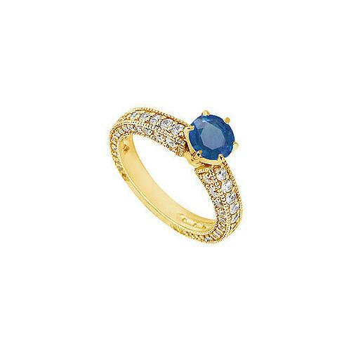 Sapphire and Diamond Engagement Ring : 14K Yellow Gold - 1.50 CT TGW-JewelryKorner-com