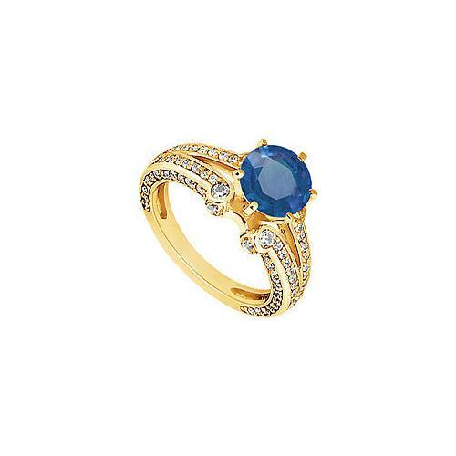 Sapphire and Diamond Engagement Ring : 14K Yellow Gold - 1.75 CT TGW-JewelryKorner-com