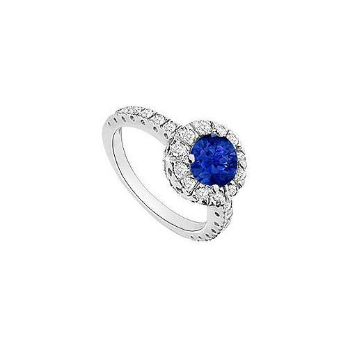 Sapphire and Diamond Halo Engagement Ring : 14K White Gold - 1.30 CT TGW-JewelryKorner-com