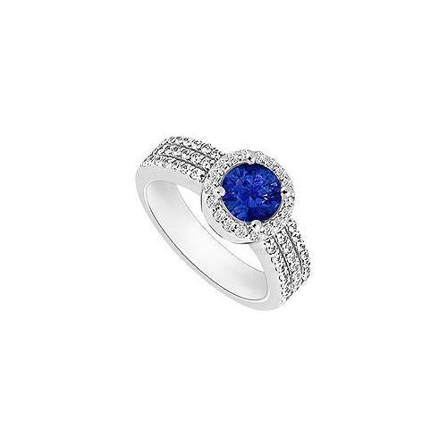 Sapphire and Diamond Halo Engagement Ring : 14K White Gold - 1.60 CT TGW-JewelryKorner-com