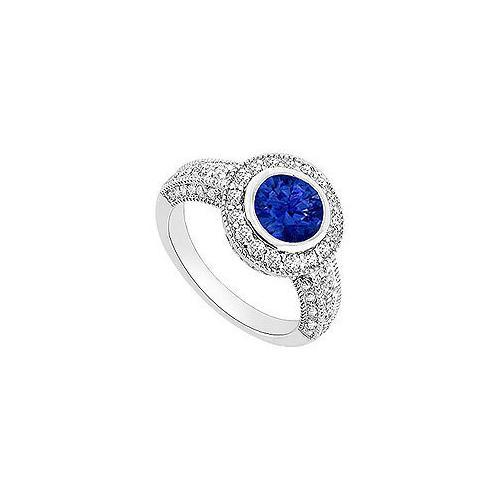 Sapphire and Diamond Halo Engagement Ring : 14K White Gold - 1.75 CT TGW-JewelryKorner-com