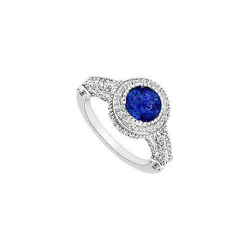 Sapphire and Diamond Halo Engagement Ring : 14K White Gold - 2.00 CT TGW-JewelryKorner-com