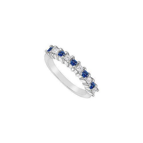 Sapphire and Diamond Ring : 14K White Gold - 0.50 CT TGW-JewelryKorner-com
