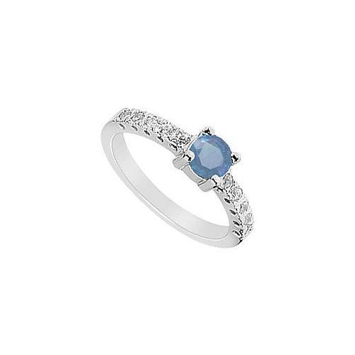 Sapphire and Diamond Ring : 14K White Gold - 0.75 CT TGW-JewelryKorner-com