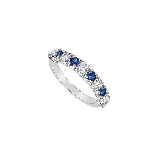 Sapphire and Diamond Ring : 14K White Gold - 1.00 CT TGW-JewelryKorner-com