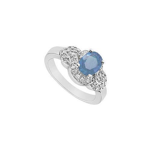 Sapphire and Diamond Ring : 14K White Gold - 1.75 CT TGW-JewelryKorner-com