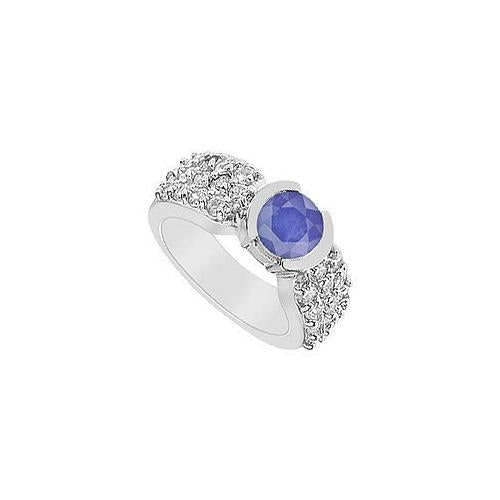 Sapphire and Diamond Ring : 14K White Gold - 2.00 CT TGW-JewelryKorner-com