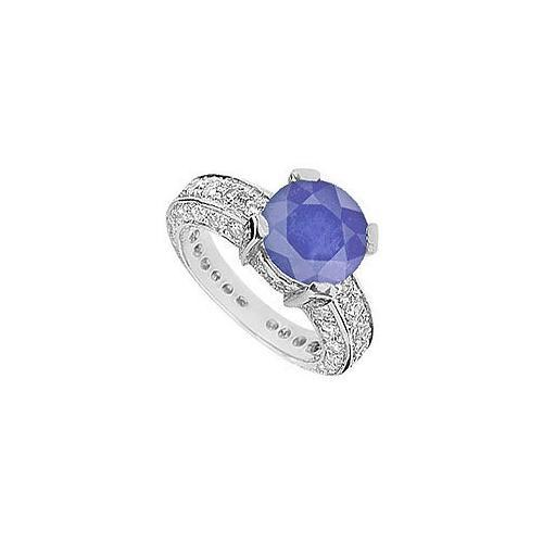 Sapphire and Diamond Ring : 14K White Gold - 5.00 CT TGW-JewelryKorner-com
