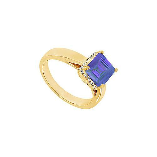 Sapphire and Diamond Ring : 14K Yellow Gold - 1.00 CT TGW-JewelryKorner-com