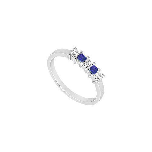Sapphire and Diamond Wedding Band : 14K White Gold - 1.00 CT TGW-JewelryKorner-com