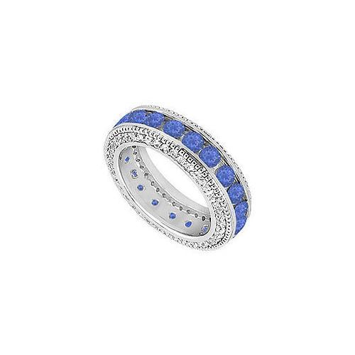 Sapphire and Diamond Wedding Band : 14K White Gold - 2.25 CT TGW-JewelryKorner-com