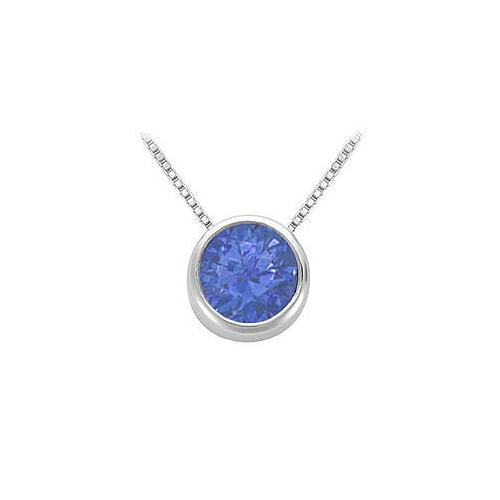 Sapphire Bezel-Set Solitaire Pendant in .925 Sterling Silver 1.00 CT TGW-JewelryKorner-com