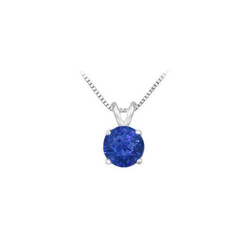 Sapphire Prong Set Sterling Silver Solitaire Pendant 1.00 CT TGW-JewelryKorner-com