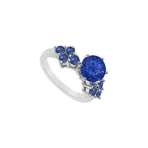 Sapphire Ring : 14K White Gold - 1.00 CT TGW-JewelryKorner-com