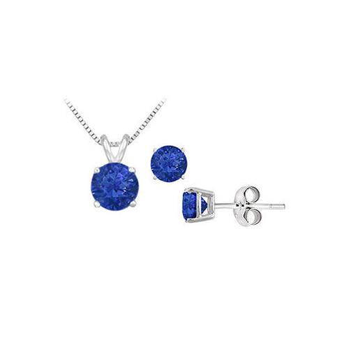 Sapphire Solitaire Pendant with Earrings Set in Sterling Silver 2.00 CT TGW-JewelryKorner-com
