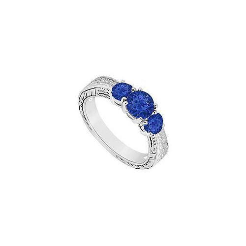 Sapphire Three Stone Ring : 14K White Gold - 0.50 CT TGW-JewelryKorner-com
