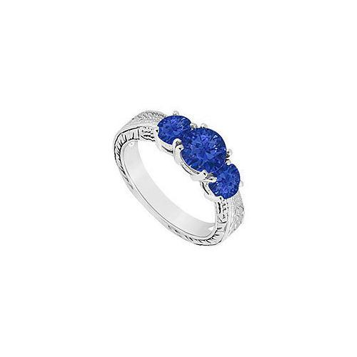 Sapphire Three Stone Ring : 14K White Gold - 1.00 CT TGW-JewelryKorner-com
