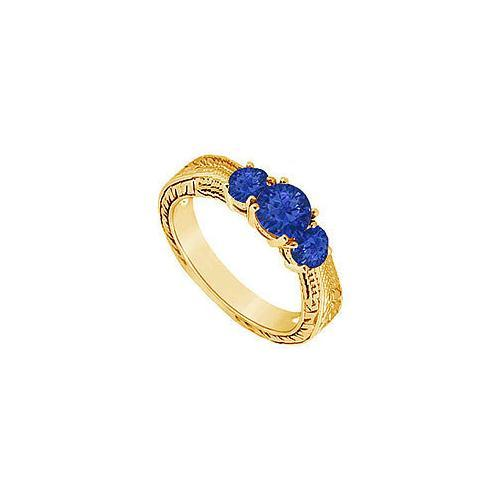 Sapphire Three Stone Ring : 14K Yellow Gold - 0.33 CT TGW-JewelryKorner-com