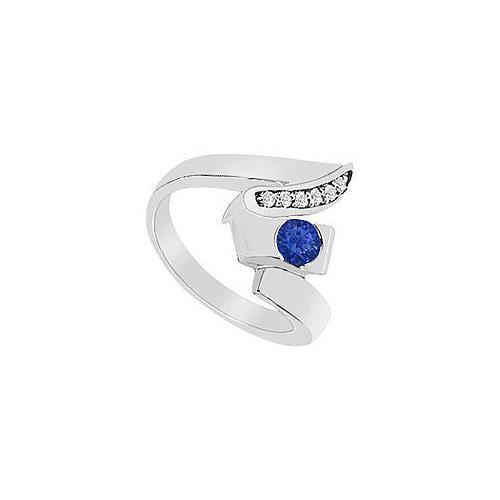 Sapphire Zig-Zag Ring : 14K White Gold - 0.33 CT TGW-JewelryKorner-com