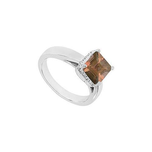 Smoky Topaz and Diamond Ring : 14K White Gold - 1.00 CT TGW-JewelryKorner-com