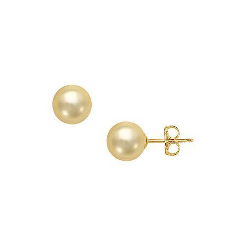 South Sea Pearl Stud Earrings : 18K Yellow Gold 13 MM-JewelryKorner-com