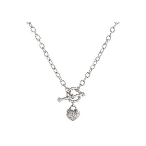 Speckled Heart Necklace With Heart Charm With Pave And Bezel Round Cut Clear Cz In Silver Tone (pack of 1 ea)-JewelryKorner-com
