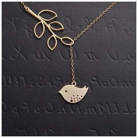 Spring has Sprung! Necklace and Chain with Sparrow and Tree Flying to the Nest-JewelryKorner-com