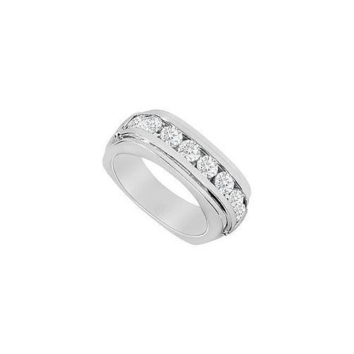 Square Mens Diamond Ring : 14K White Gold - 1.00 CT Diamonds-JewelryKorner-com