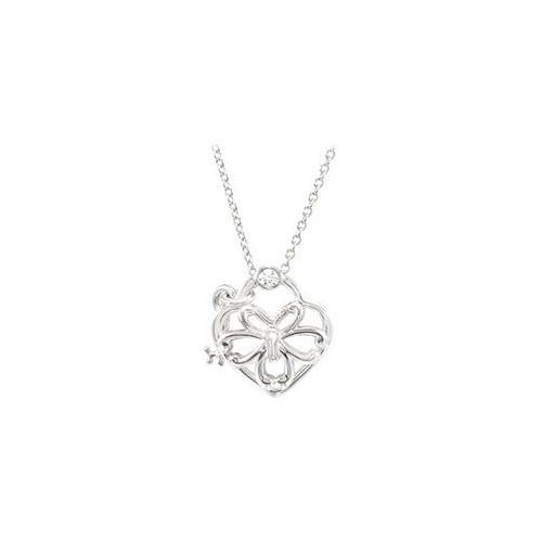 "Sterling Silver 0.05 CT TW Diamond Heart 18"" Necklace-JewelryKorner-com"
