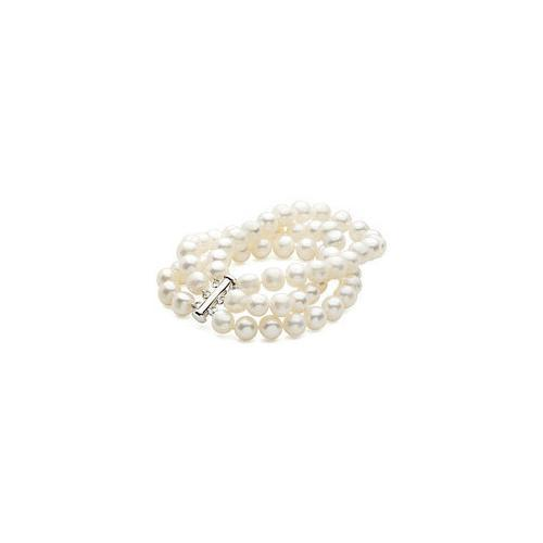 Sterling Silver and Freshwater White Cultured Pearl Triple Strand Bracelet - 7.25 Inch / 8-9 MM-JewelryKorner-com