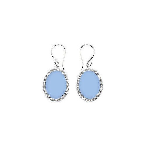 Sterling Silver Aqua Chalcedony and Cubic Zirconia Earrings 31.00 CT TGW-JewelryKorner-com