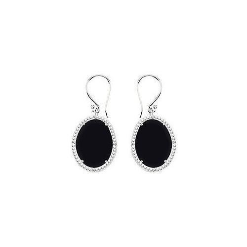 Sterling Silver Black Onyx and Cubic Zirconia Earrings 30.16 CT TGW-JewelryKorner-com