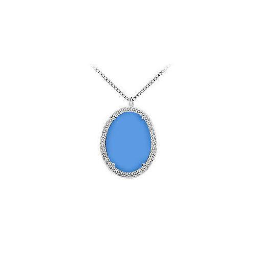Sterling Silver Blue Chalcedony and Cubic Zirconia Pendant 16.00 CT TGW-JewelryKorner-com