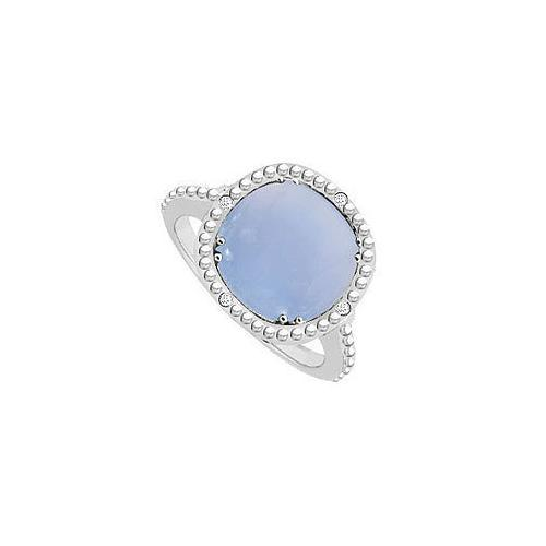 Sterling Silver Blue Chalcedony and Cubic Zirconia Ring 3.05 CT TGW-JewelryKorner-com