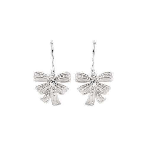 Sterling Silver Bow Design Dangle Earrings-JewelryKorner-com