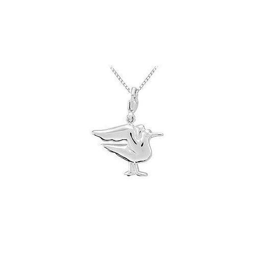 Sterling Silver Charming Animal Seagull Charm Pendant-JewelryKorner-com