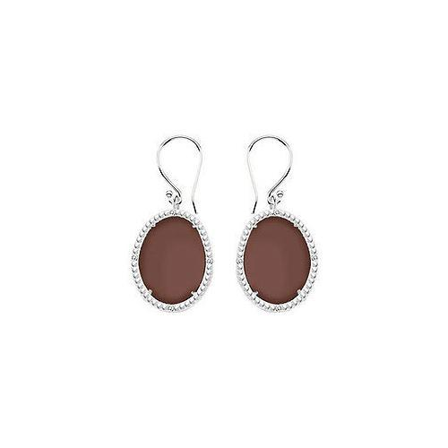 Sterling Silver Chocolate Chalcedony and Cubic Zirconia Earrings 30.16 CT TGW-JewelryKorner-com