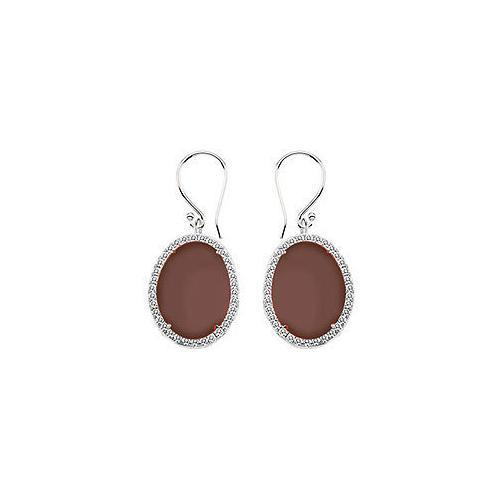 Sterling Silver Chocolate Chalcedony and Cubic Zirconia Earrings 31.00 CT TGW-JewelryKorner-com