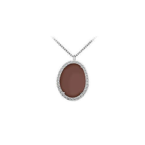 Sterling Silver Chocolate Chalcedony and Cubic Zirconia Pendant 16.00 CT TGW-JewelryKorner-com