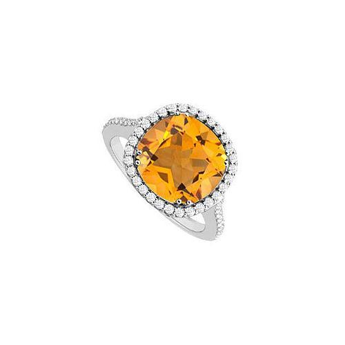 Sterling Silver Citrine and Cubic Zirconia Ring 2.50 CT TGW-JewelryKorner-com