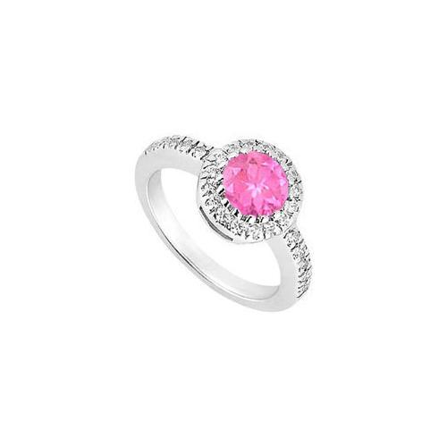 Sterling Silver Created Pink Sapphire and Cubic Zirconia Engagement Ring 0.75 CT TGW-JewelryKorner-com